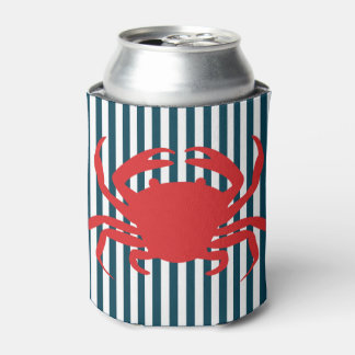 Cangrejo rojo en rayas náuticas enfriador de latas