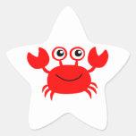 Cangrejo rojo feliz del dibujo animado pegatina en forma de estrella