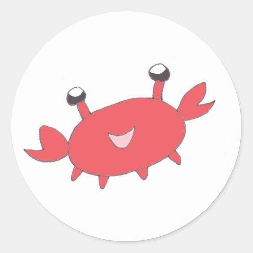 Cangrejo rojo feliz lindo pegatina redonda