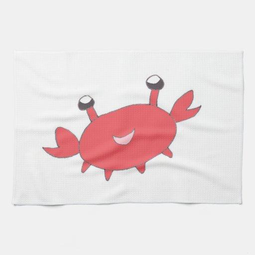 Cangrejo rojo feliz lindo toalla de cocina