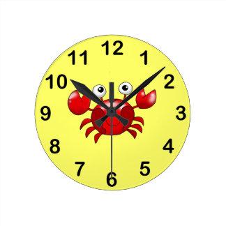 Cangrejo rojo lindo reloj de pared