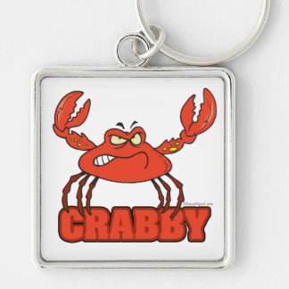 cangrejo rojo malhumorado divertido con una actitu llavero cuadrado plateado