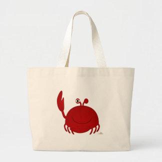 Cangrejo rojo sonriente bolsas lienzo