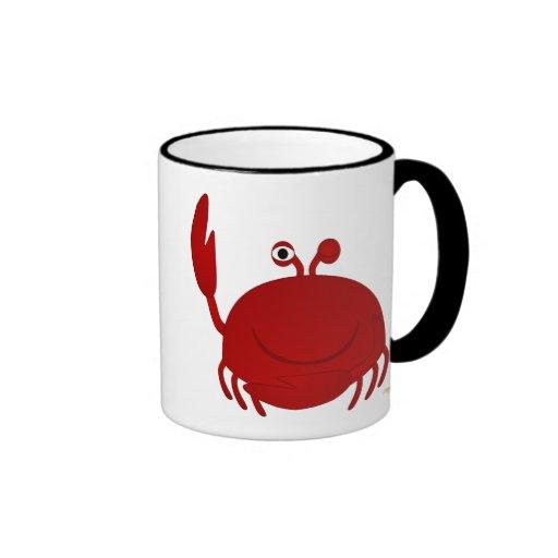 Cangrejo rojo sonriente tazas de café