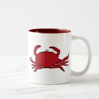 Cangrejo rojo taza de café de dos colores