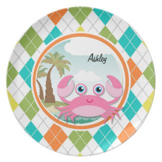 Cangrejo rosado en el modelo colorido de Argyle Platos De Comidas