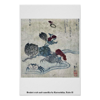 Cangrejo y camelia de Benkei por Katsushika, Taito Posters