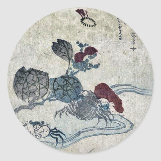 Cangrejo y camelia de Benkei por Katsushika, Taito Etiquetas Redondas