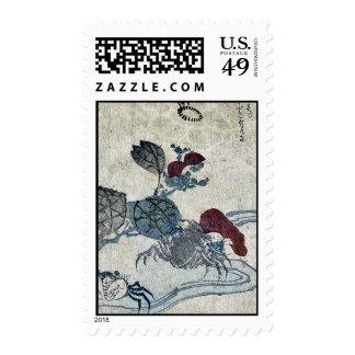 Cangrejo y camelia de Benkei por Katsushika, Taito Sellos