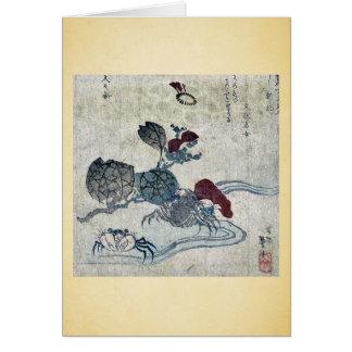 Cangrejo y camelia de Benkei por Katsushika, Taito Tarjeta
