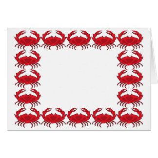 Cangrejos cocidos al vapor tarjeta de felicitación