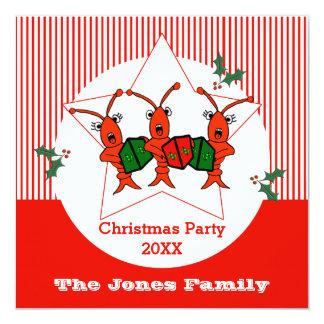 """Cangrejos de Caroling/fiesta de Navidad de las Invitación 5.25"""" X 5.25"""""""