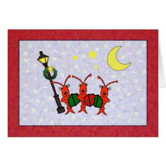 Cangrejos de Caroling/tarjeta de Navidad del trío
