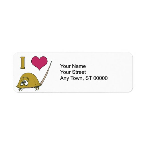 cangrejos de herradura del amor del corazón i etiqueta de remite