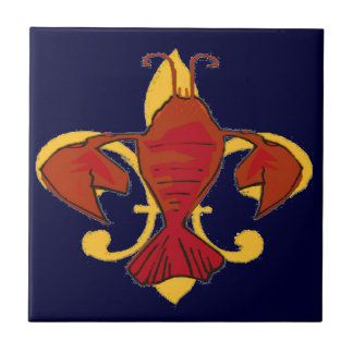 Cangrejos de la flor de lis azulejo cuadrado pequeño