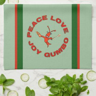 Cangrejos del Gumbo del amor de la paz Toallas De Cocina