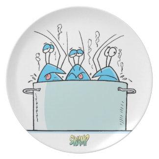 Cangrejos del pantano en el menú plato de cena