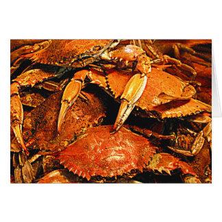 Cangrejos duros cocidos al vapor de Maryland Tarjetas