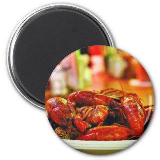 Cangrejos en la casa de la ostra de la cumbre imán redondo 5 cm