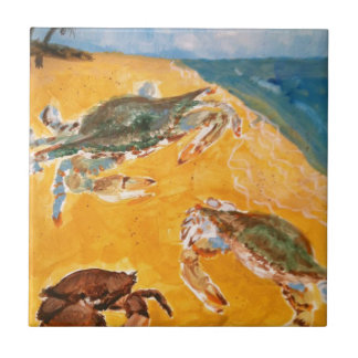 Cangrejos en la playa azulejo cuadrado pequeño