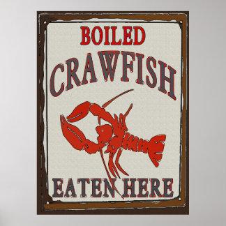 Cangrejos hervidos comidos aquí póster