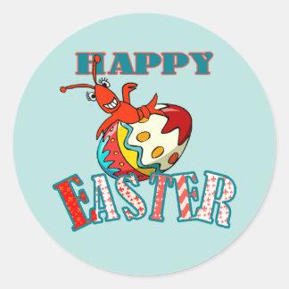 Cangrejos lindos Pascua feliz Pegatina Redonda