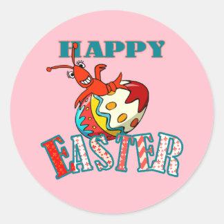 Cangrejos lindos Pascua feliz (rosa) Pegatina Redonda