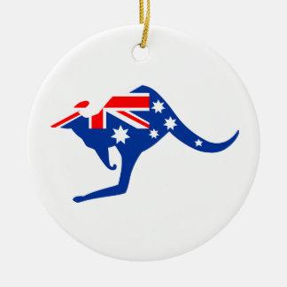Canguro australiano adorno navideño redondo de cerámica