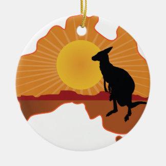 Canguro de Australia Adorno Navideño Redondo De Cerámica