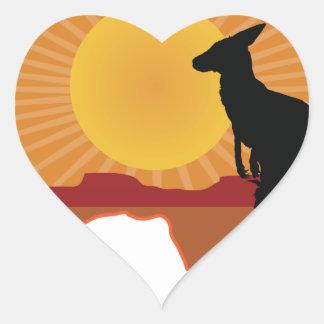 Canguro de Australia Pegatina En Forma De Corazón