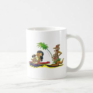 Canguro de la playa taza