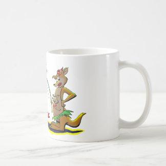 Canguro de la playa tazas de café