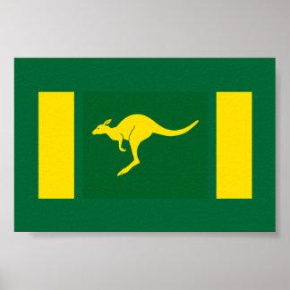 Canguro de los colores de Aussie Póster