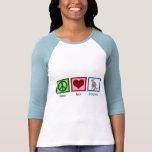 Canguro del amor de la paz camiseta