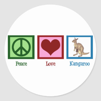 Canguro del amor de la paz pegatina redonda