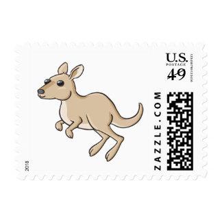 Canguro del dibujo animado de la lupulización sellos