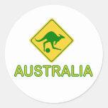 Canguro del fútbol de Australia Pegatina Redonda