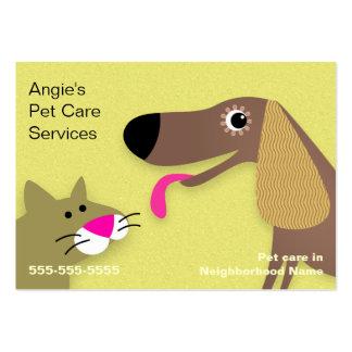 Canguro del mascota - amarillo del perro y del gat tarjetas de visita grandes
