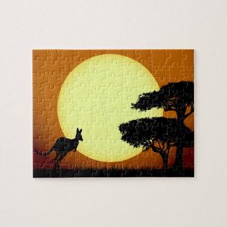 Canguro en la puesta del sol puzzle