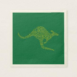Canguro hecho de argot australiano servilletas de papel
