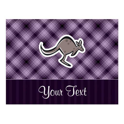 Canguro lindo; Púrpura Tarjeta Postal