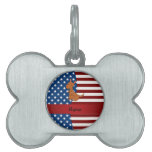 Canguro patriótico conocido personalizado placa de nombre de mascota