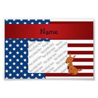 Canguro patriótico conocido personalizado arte con fotos