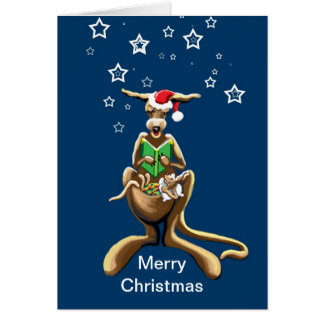 Canguro y joey de las Felices Navidad Tarjeta De Felicitación
