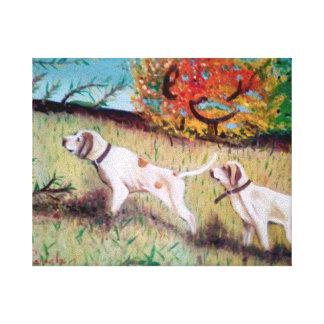cani curiosi dipinto originale inedito stampato stretched canvas prints