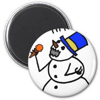 Caníbal del muñeco de nieve imán redondo 5 cm