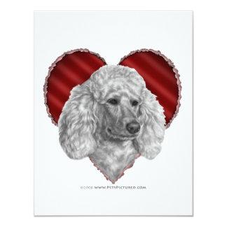 """Caniche blanco con el corazón invitación 4.25"""" x 5.5"""""""