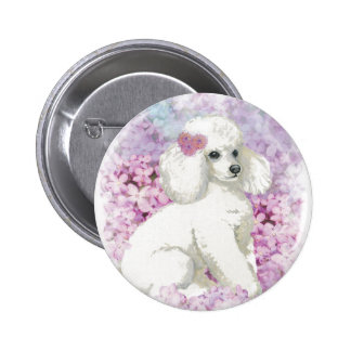 Caniche blanco en el arte y los regalos de las lil pin redondo 5 cm