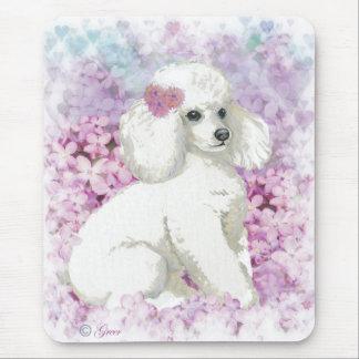 Caniche blanco en el arte y los regalos de las tapete de ratones