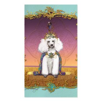 Caniche blanco en traje tarjetas de visita